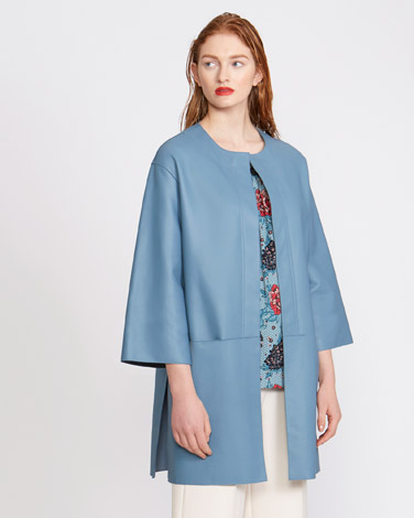 d4b8e1c67f1 blue Carolyn Donnelly The Edit Leather Coat With Side Slits