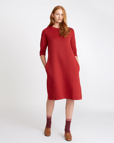 195fe087f4b8 red Carolyn Donnelly The Edit Flared Sweatshirt Dress
