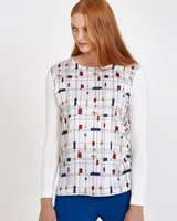 cream Carolyn Donnelly The Edit Cube Print Top
