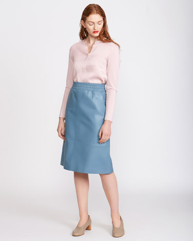 1c05b717205 blue Carolyn Donnelly The Edit Leather Elasticated Skirt