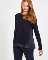 navy Carolyn Donnelly The Edit Merino A-Line Sweater