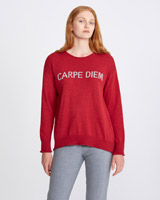 red Carolyn Donnelly The Edit Slogan Sweater