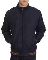 navy Poly Suede Bomber