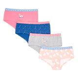 pink-whiteGirls Shorts - Pack Of 4