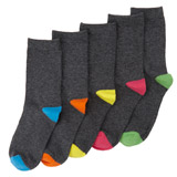 grey Boys Crew Socks - Pack Of 5