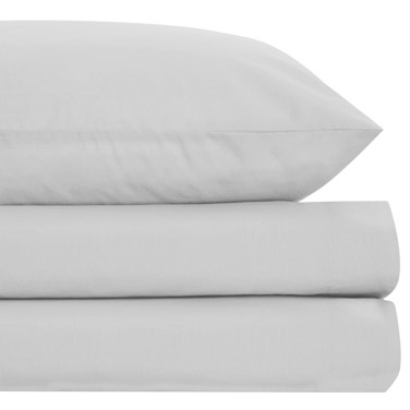Grey Non Iron Percale Fitted Sheet 180 Thread Count   Double