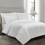 white Luxury Stripe Duvet Cover