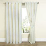 cream Faux Silk Curtains And Tie Backs