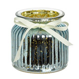 blue Ribbed Scented Candle Jar