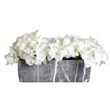 creamRectangular Marble Flower Pot