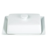 white Simply White Butter Dish