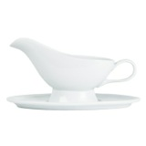 white Simply White Gravy Boat And Saucer