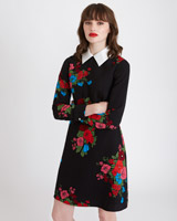 black Savida Collared Print Dress