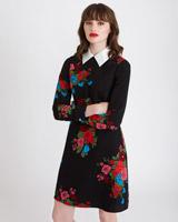 blackSavida Collared Print Dress