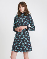 navy Savida Print Dress With Lace