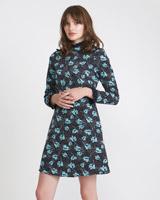 navySavida Print Dress With Lace