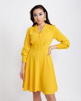 mustardSavida Button Detail Collar Dress