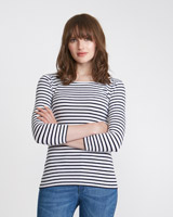 navy-white Savida Essential Scoop-Neck Top