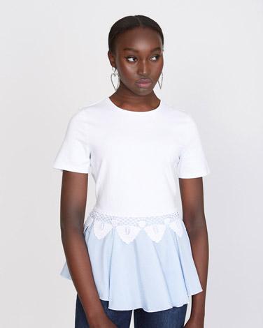 2191bc45818108 Tops and T-Shirts | WHITE Savida Stripe Lace Detail Hem Top | Dunnes ...
