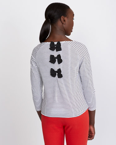 e637aa9ce0b1a5 Tops and T-Shirts | BLACK Savida Bow Back Stripe Top | Dunnes Stores