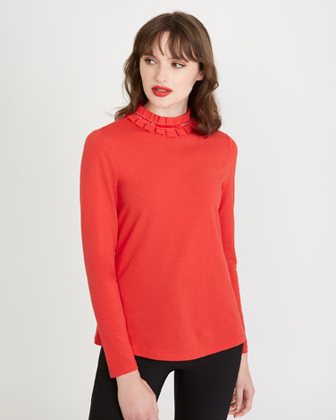 red Savida Neck Trim Top