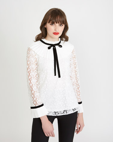 fd3a26125d2 off-white Savida Pleat Collar Blouse