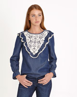 denim Savida Crochet Front Blouse