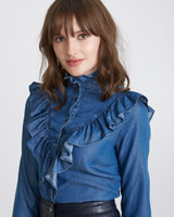 denim Savida V-Frill Blouse