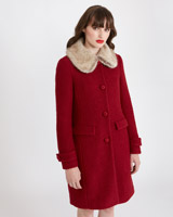 burgundySavida Jacquard Faux Fur Collar Coat