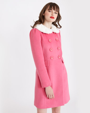 pink Savida Scallop Edge Coat