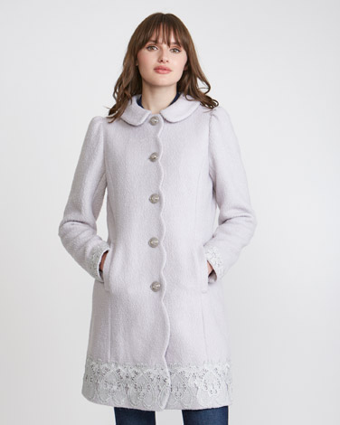 grey Savida Lace Hem Coat