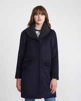 navy Savida Rib Collar Coat