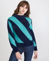 navySavida Diagonal Stripe Jumper