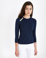 navy Savida Three Crystal Button Jumper