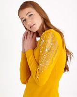 mustardSavida Sleeve Embellished Jumper