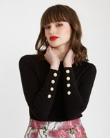 black Savida Pearl Cuff Knit Jumper