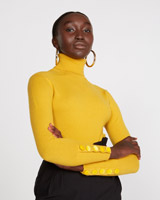 mustardSavida Velvet Button Cuff Jumper