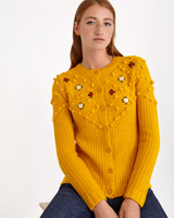 mustard Savida Embroidered Cardigan
