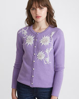 lilac Savida Hand Beaded Cardigan