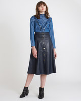 navy Savida PU Button Front Skirt