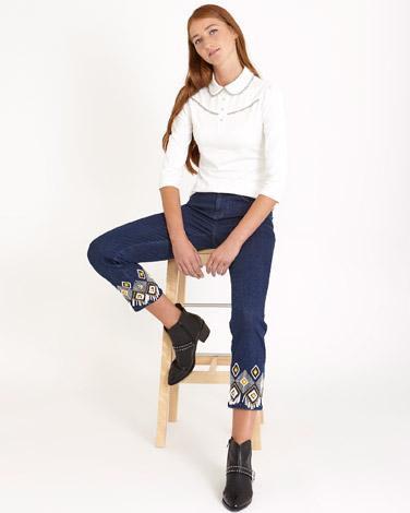 denimSavida Beaded Hem Jeans