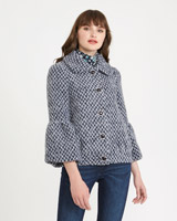 navy-white Savida Short Boucle Jacket