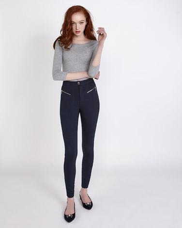 navySavida Zip Ponte Trousers