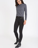 black Savida Zip Ponte Trousers