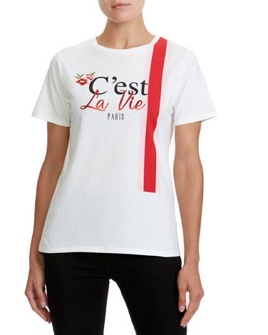 ivorySlogan Print T-Shirt