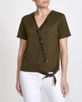 khaki Button Front Wrap Top