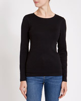 black Rib Crew-Neck Top