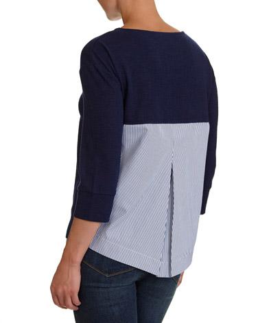 navyStripe Back Textured Top