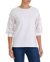white Floral Lace Sleeve Top