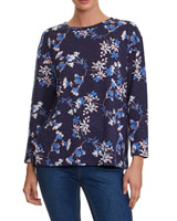 navy Floral Print Textured Top